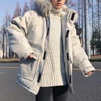 棉衣冬季短款日系潮流保暖真毛领学生加厚连帽羽绒袄子