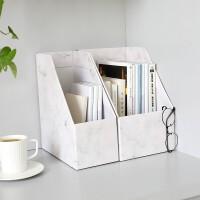 办公室文件夹收纳盒纸质书立盒学生桌面书架立式置物架白色大理石