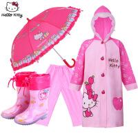 hellokitty儿童雨衣雨鞋雨伞套装幼儿园宝宝小孩学生女童雨具套装