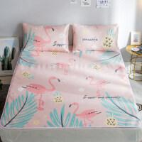 可水洗卡通冰丝席三件套夏季空调宿舍凉席1.5米1.8m床折叠软席子 北欧菠萝火鸟 1.8m(6英尺)床