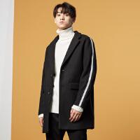 美特斯邦威旗下 4M呢子大衣男长款冬季英伦风冬装外套