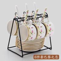 陶瓷咖啡套具6杯子陶瓷咖啡杯套装欧式骨瓷咖啡杯碟整套