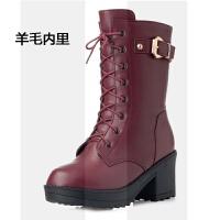 冬季新款女靴羊毛马丁靴女棉靴真皮中筒靴高跟女鞋粗跟加绒皮靴子SN1680