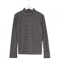 黑白条纹T恤女长袖上衣高领打底衫针织修身内搭秋季2018新款韩版 均码