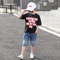 男童套装夏装新款韩版中大童牛仔裤两件套儿童夏季套装