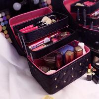 3件7折韩国大容量多层化妆包女便携旅行手提收纳化妆箱护肤品纹绣化妆盒 黑色 带钻三层