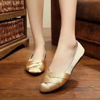 妈妈鞋 女士老北京布鞋软底单鞋2019新款女式平底浅口尖头妈妈工作鞋时尚礼仪鞋女鞋子