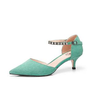 Camel/骆驼女鞋 2018春季新款 性感尖头浅口单鞋水钻腕带细跟中跟鞋女