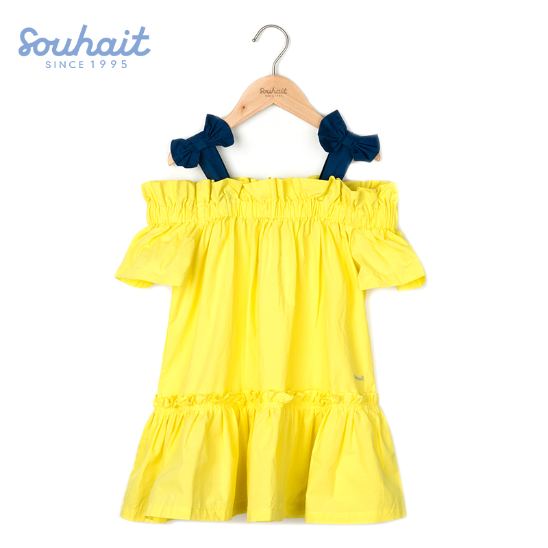水孩儿souhait夏装儿童连衣裙女新款女童洋气裙子夏公主吊带裙AZEXM457 全棉平布,透气吸汗,清凉舒适,肌肤干爽的体验