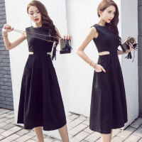 无袖连衣裙中长款修身显瘦性感露腰气质时尚春夏小黑裙子春款