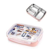 304不锈钢分格保温饭盒学生便当盒分隔儿童可爱餐盘微波炉餐盒