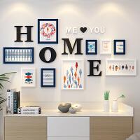现代简约客厅照片墙装饰自粘贴创意个性相框墙卧室相片框挂墙组合 白蓝 清新海洋画芯