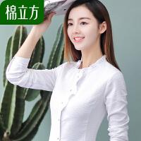 2019春装新款白色衬衫女职业棉立方女装韩范学院风木耳边长袖衬衣