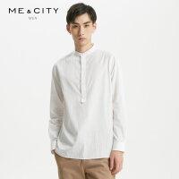 【1件2.5折到手价:94】MECITY男装秋季新款条纹复古小立领纯棉长袖衬衫