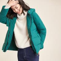 【清仓339元】梵希蔓羽绒服女短款2018冬新款时尚宽松连帽加厚保暖外套
