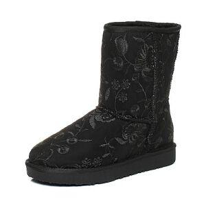Teenmix/天美意2017冬黑色纺织品精美刺绣雪地靴女靴(仿毛里)58202DZ7