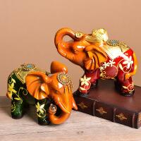 彩绿大象摆件家居酒柜家庭装饰品室内客厅摆设房间卧室工艺品创意