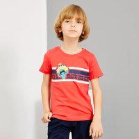 【1件2.5折到手价:28.8】米喜迪mecity童装男童t恤夏新款印花简约短袖儿童t恤