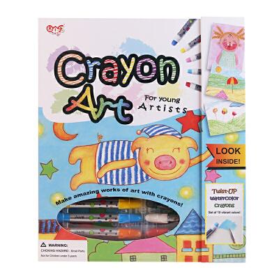 图个乐TUGELE儿童益智旋转牛奶蜡笔涂色绘画一体式工具套装教程详尽 工具齐全 包装精美