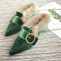 兔毛包头毛毛拖鞋女秋冬新款韩版金属皮带扣半拖鞋粗跟中跟穆勒鞋