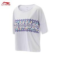 李宁女款短袖文化衫夏季圆领时尚宽松短袖T恤运动生活系列短袖女士上衣LADM002