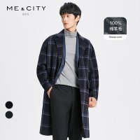 【2件3折到手价:491.7】MECITY男装2018冬季新款格子宽松落肩纯羊毛双面呢大衣英伦