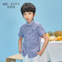 【2件1.5折价:16.4,可叠券】米喜迪mecity童装20夏新款男童前片维希格纹短袖衬衫