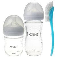 原生玻璃奶瓶套装 新生儿宽口4安士+8安士+奶瓶刷组合套装a208