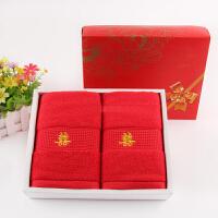 毛巾两条装礼盒棉加厚红色喜字喜庆结婚毛巾回礼 76x35cm
