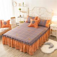 全棉床罩纯棉床裙单件1.8m床双人床罩1.2/1.5m/2米床裙式床单床套 桔色 相思语