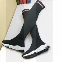 2018秋冬女鞋平底针织袜子长筒靴毛线加绒过膝弹力长靴女显瘦百搭SN7284 34 标准尺码选购