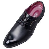 男士小皮鞋秋季韩版黑色潮流尖头休闲英伦正装商务青年学生鞋男鞋真皮 黑色 平底款