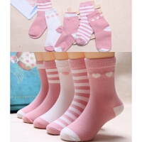 儿童袜子春秋3-5-7-9-12岁中大童夏季小孩宝宝女童袜xx 五双粉色系列 春秋款