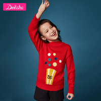 【3折价:99】笛莎童装女童针织衫冬装新款中大童女童卡通图案套头针织衫