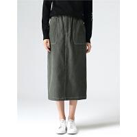 初语半身裙中长款女冬季新款明线大口袋显瘦灯芯绒棉质半裙