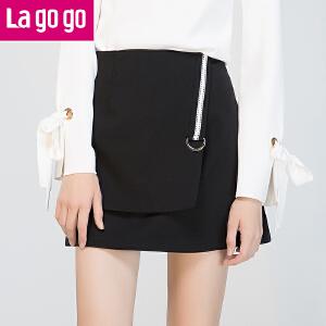 Lagogo/拉谷谷2017年秋冬新D型环织带装饰时尚潮流半裙