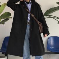 呢子大衣女中长款秋冬韩版宽松百搭长袖翻领毛呢外套上衣学生潮