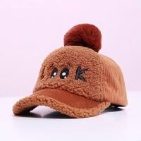 儿童帽子冬季男童女童棒球帽韩版鸭舌帽2018宝宝秋冬加绒护耳帽潮 均码