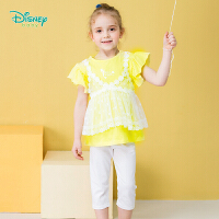 迪士尼Disney童装 美人鱼印花套装女童夏季新款假两件无袖上衣纯色裤子两件套女192T843