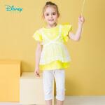 【2.2折价:65.8】迪士尼Disney童装 美人鱼印花套装女童夏季新款假两件无袖上衣纯色裤子两件套女192T843