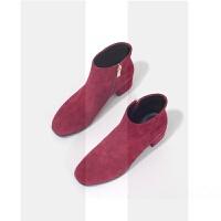 2018新款方头粗跟百搭英伦短靴女真皮及踝靴中跟春秋季单靴裸靴子SN1351 酒红色 单里