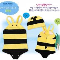 小蜜蜂儿童泳衣宝宝连体游泳衣带泳帽婴儿泳衣男童女童泡温泉泳装 小蜜蜂