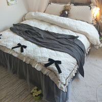 秋冬季加厚加绒四件套公主风水晶绒保暖夹棉床上珊瑚绒韩式床裙款 床裙2x2.2米 被套2.2x2.4米