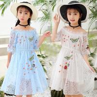 大童裙子女童女夏新款洋气公主裙一字肩刺绣连衣裙