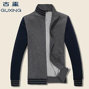 2018年古星春秋新款男士休闲运动开衫薄款立领修身时尚卫衣男