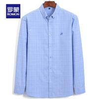 Romon/罗蒙 2019新款长袖衬衫 100%纯棉免烫正装男 商务 休闲 修身格子衬衣
