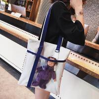包包女2018夏季新款韩版简约学生帆布包购物袋透明包织带单肩包