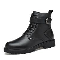 新款牛皮工装马丁靴英伦短靴男女款内增高8cm高帮鞋 35-46