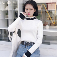 秋冬新款韩版撞色半高领套头长袖修身显瘦针织衫女打底衫上衣学生