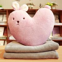 沙发靠枕靠垫客厅床头北欧风少女心毯子兔子抱枕被子两用